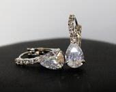40% OFF - Wedding Jewelry - Cubic Zirconia Teardrop Earrings