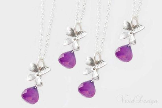 SET OF 4 - Rare Purple Chalcedony Orchid Necklace