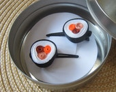 Pair of Salmon Sushi Hair Barrettes Japanese Sushi Accessories