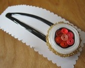 Free Shipping - Sushi Barrette with sesamee seed beeds and salmon