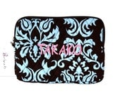 Monogrammed I-Pad,  Kindle, Tablet Case Turquoise Teal Damask Personalized