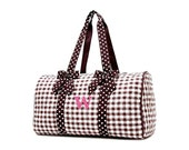 RESERVED for Brooke: Personalized Monogrammed Large Duffle Bag Brown Gingham