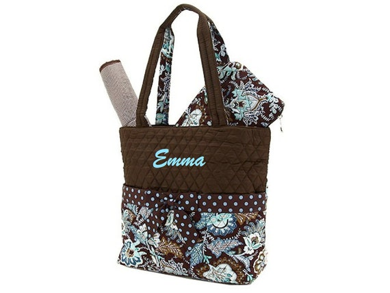 Monogrammed Diaper Bag Paisley Floral Personalized Brown and Turquoise
