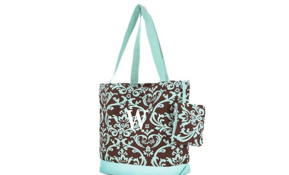 Personalized Damask Canvas Tote Bag Brown and Turquoise Teal Monogrammed Bridesmaids Gifts
