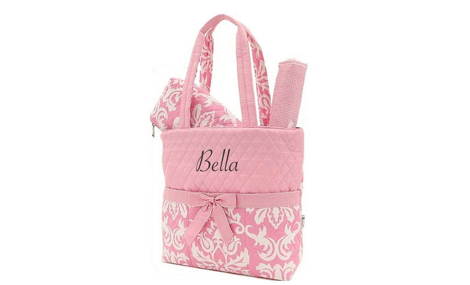 monogrammed damask girl diaper bag set personalized pink and. Black Bedroom Furniture Sets. Home Design Ideas