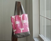 Giraffe Mini Button Tote Bag, Pink and Gray *SALE*