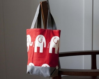 Elephant Mini Button Tote Bag, Red and Gray *SALE*
