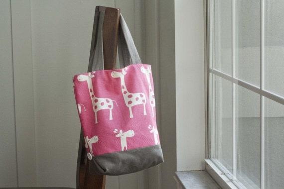 Giraffe Mini Button Tote Bag, Pink and Gray *SALE*