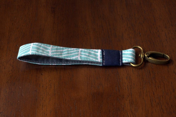 Fabric Key Fob - Aqua and Navy