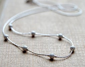 Sterling Silver Stardust Floating Necklace/Choker,simple,classic,delicate,dainty,sparkling,stardust beads,chain,grey,white,shining