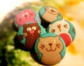 Colorful Cats, Cheeky Felines - Set of 5 buttons