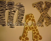Animal Print Hanging Wall letter  -  Custom Hand Painted Nusery Decor