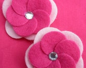 Set of 2 Fuschia and Light Pink Flower Shaped Felt Hair Clips with Rhinestones
