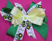 Green tractor and Sparkley Daisy Hair Bow, John Deer Inspired