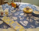 tablecloth table linens french country lemon yellow toile blue french floral