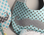 Baby set-quilted Mr. Mustache bib & baby fabric/quiet book-Shower gift idea/baby-toddler gif idea-Made to order