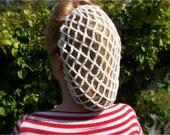 1940s vintage style crochet snood hair net cream or white