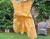 "SALE 1960s Vintage Girls Sun Dress by ""Tiny Town Original"" Daffodil Yellow checkered"