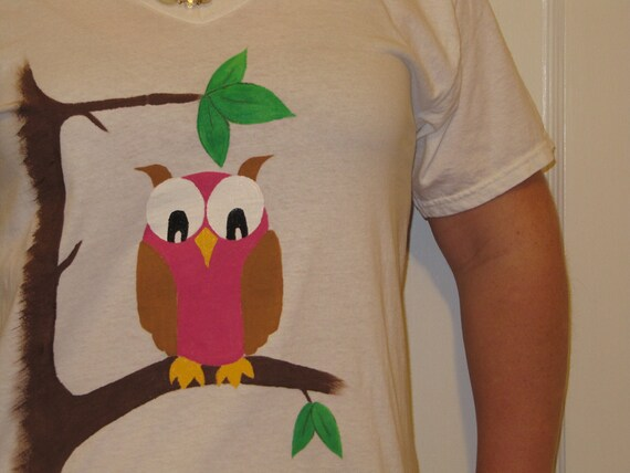 SALE - Handpainted Owl T-Shirt