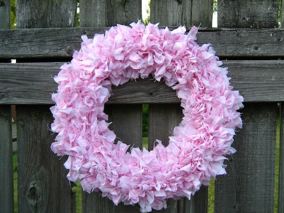 Pink Rag Wreath - Fabric Rag Wreath, Spring, Girl Baby Shower - Mothers Day