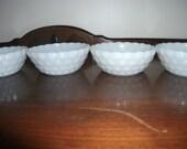 Milk glass small bubble bowls Set of 4