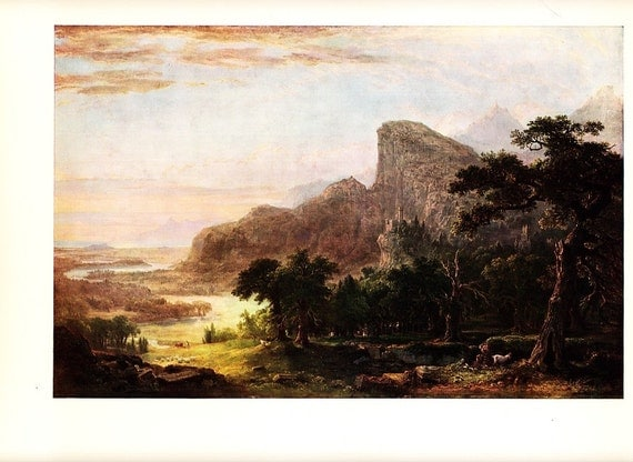 1958 vintage landscape art print by American painter Asher B. Durand - frame it or use in a project