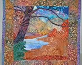Batik fabric autumn mini quilt wall hanging with tree and lake