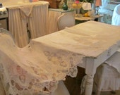 Vintage lace panel victorian shabby chic roses french lace