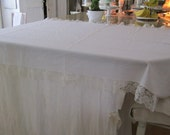 Vintage tablecloth white lace trim roses 110x 48 couch chair cover