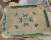Vintage gold and green italian florentine tole tray shabby chic