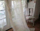 Vintage lace curtain panel roses and lace ruffles shabby chic cottage prairie