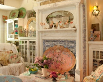 Special listing for R.A   Malibu CA  SPECIAL ORDER Victorian fireplace screen shabby chic pink roses
