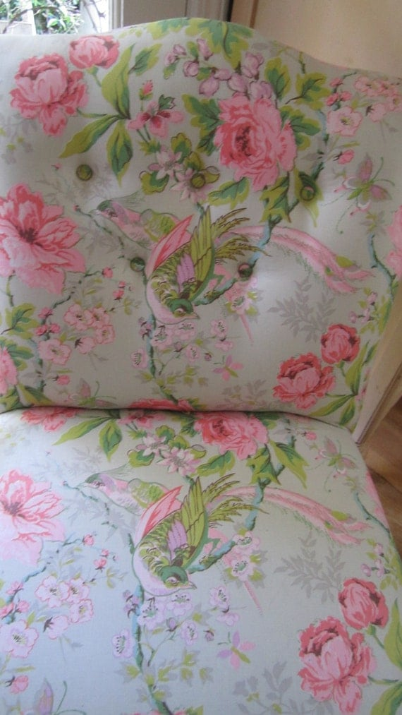 pink and green roses slipper chair victorian shabby chic