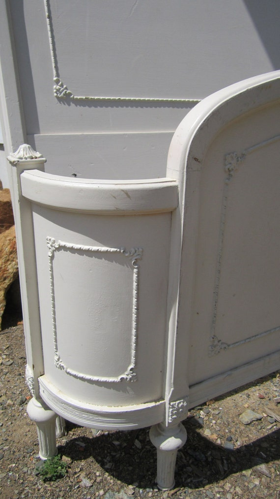 RESERVED SOLD  for cindy Painted cottage chic Vintage Head board and footboard Beautiful ivory full size