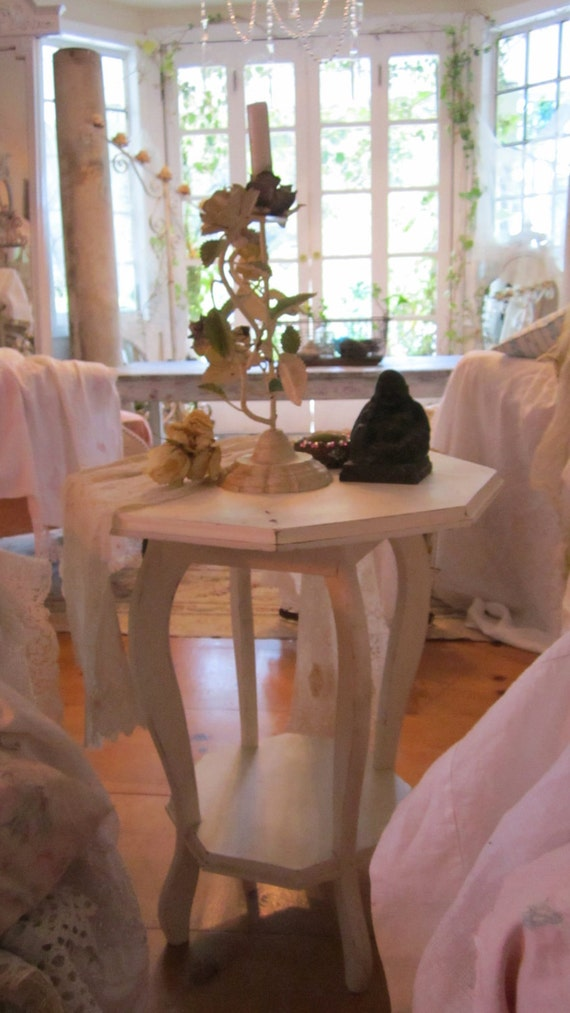RESERVED AC Perfect chippy painted white shabby chic table cottage chic