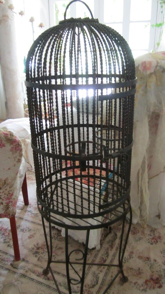black and rusty vintage metal birdcage shabby chic prairie. Black Bedroom Furniture Sets. Home Design Ideas