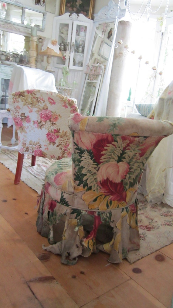 Vintage slipper chair with barkcloth FREE SHIPPING shabby chic victorian cottage chic
