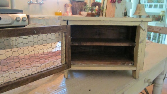 Vintage french cupboard chippy painted cream chicken wire shabby chic prairie