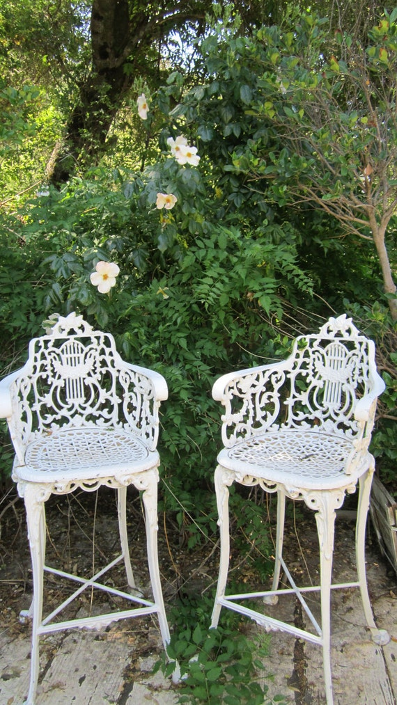 Pair vintage white  cast iron ornate stools FREE SHIPPING shabby chic roses prairie victorian