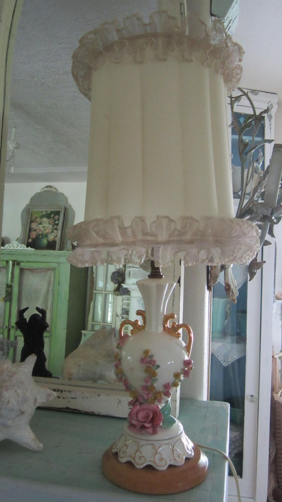 Vintage lamp with roses with vintage shade