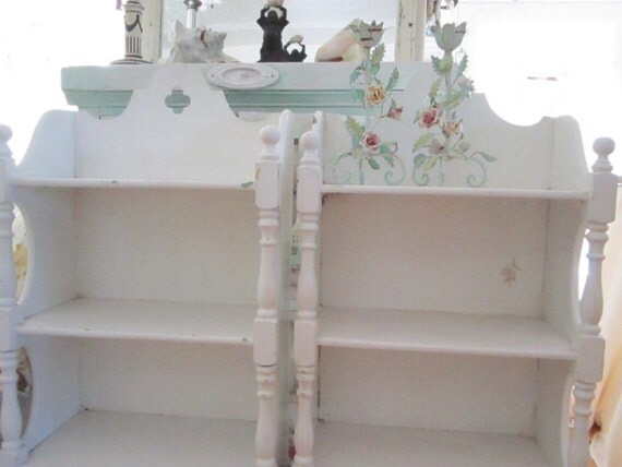 Vintage shabby chic  chippy painted white book shelves cabinet