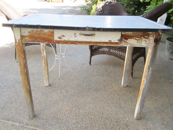 vintage farm table enamel   metal top with drawer chippy painted shabby chic prairie cottage chic