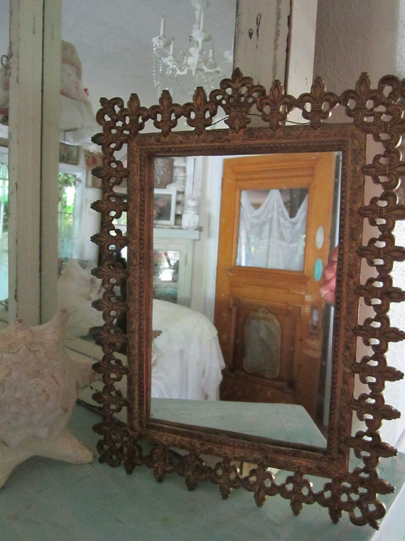 Beautiful gold French mirror  shabby chic victorian prairie 9 1/2   by 12 1/2 inches
