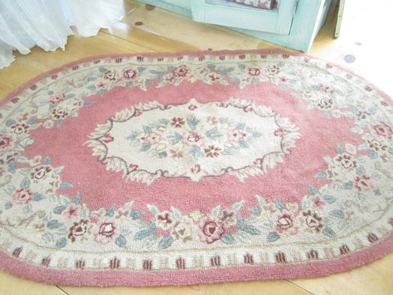 RESERVED Kelly Fabulous shabby chic  pink wool  latch hooked rug with roses and scrolls shabby chic cottage chic