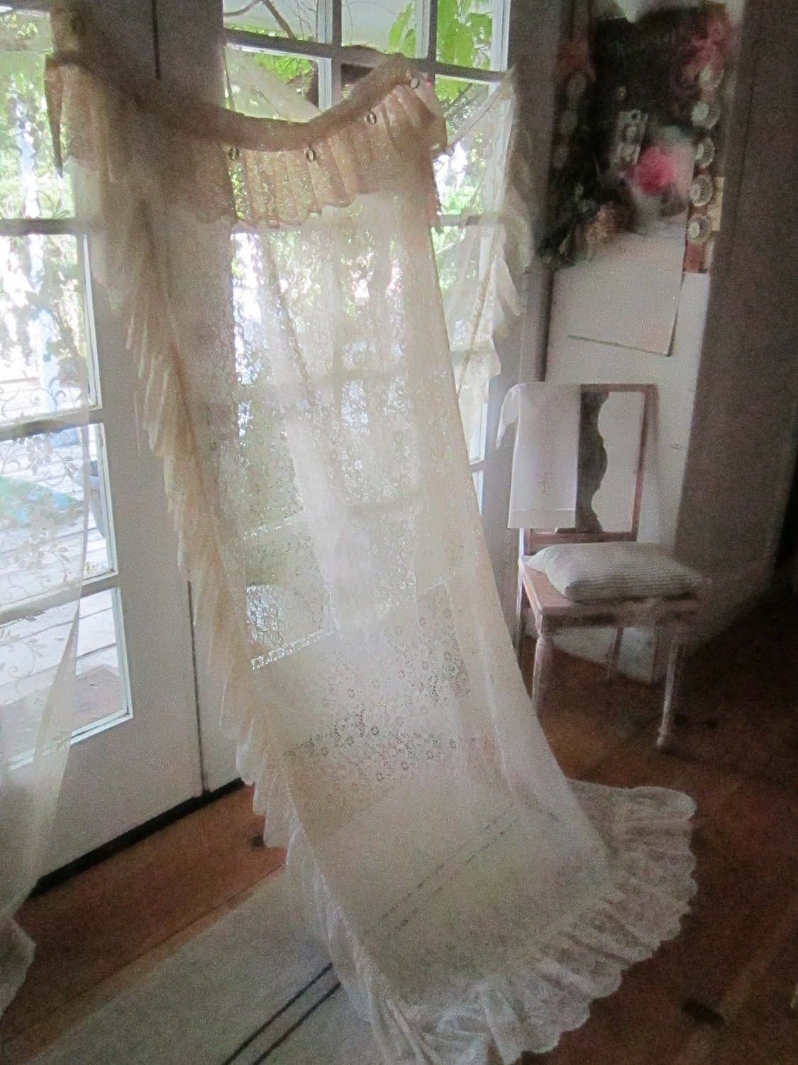 vintage lace curtain panel roses and lace ruffles shabby chic