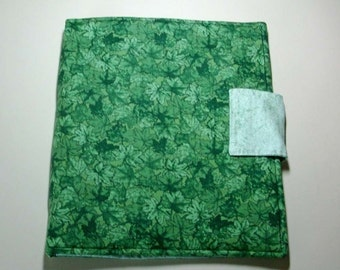 Fabric iPad case with velcro closure in shades of green