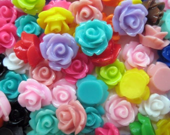 100 Pcs - 10mm Rose Cabochons - Assorted Colours