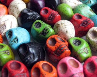 CLEARANCE 6 Pcs Synthetic Howlite Skull Beads - 17mm wide, 18mm long, hole: 1mm