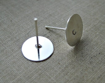 50 Pcs - Silver Earring Stud Posts - Tray: 10mm in diameter