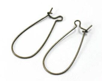 20 Pcs Antique Brass Kidney Hooks - 33mm Long, 14mm wide